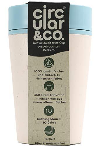 Circular & Co 2Go Kaffeebecher, Fassungsvermögen: 340 ml, 100% dicht, 360°-Trinköffnung, Einhand Bedienung, mit Deckel, Becher weiß/blau Unisex OS