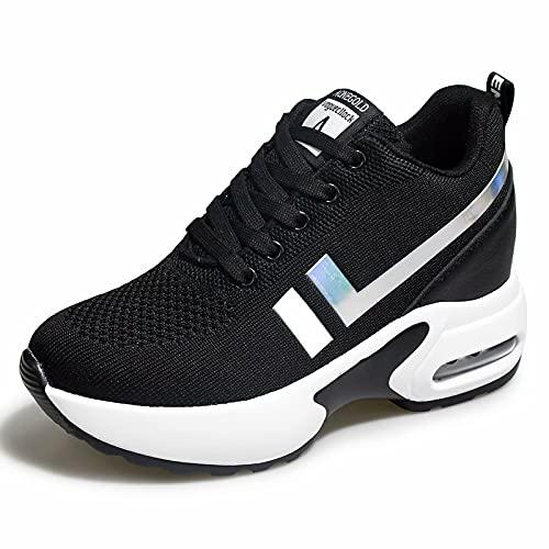 AONEGOLD® Baskets Femmes Compensees Chaussure de Sport Gym Fitness Jogging Voyage Respirantes Mode Sneakers Coussin d'air Basses Compensée Plateforme Talon de 8.5 cm Noir 36 EU