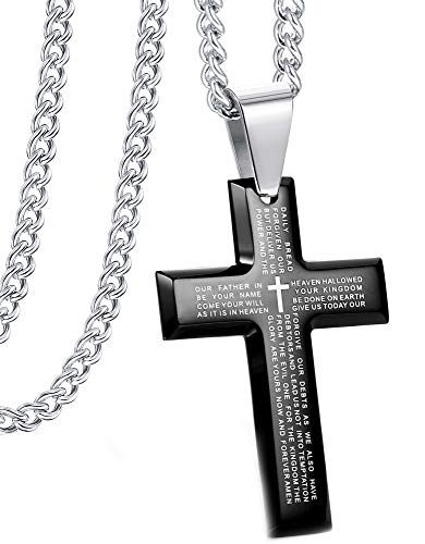 Jstyle Jewelry Men's Stainless Steel Simple Black Cross Pendant Lord's Prayer Necklace 24 Inch