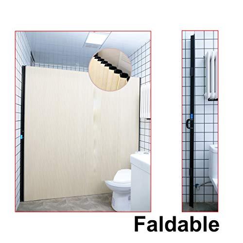 SPARROW Onzichtbaar douchegordijn Opvouwbare schuifdeur voor badkamer Geen punch Honingraatstructuur Isolatie Waterdicht Antimould Antistatisch