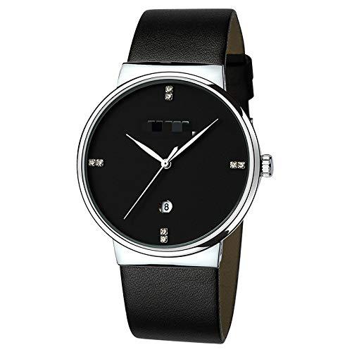 Calendario Correa De Cuero Reloj para Hombre Moda Reloj De Cuarzo Impermeable para Hombre Damas Cinturón Negro de Concha Plateada