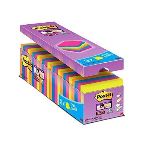 Post-It Super Sticky Tradizionale Confezione Risparmio, Foglietti Adesivi Colorati, Rimovibili e Riposizionabili, 76 x 76 mm, 24 Blocchetti x 90 Foglietti, Verde/Fucsia/Arancio/Blu