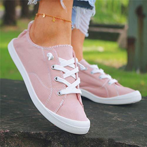 MTHDD Zapatos de Lona Zapatos de Pareja Zapatos Casuales de Pedal de Corte Bajo Zapatos Perezosos Transpirables,Rosado,43