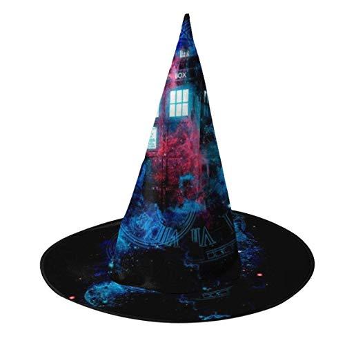 Sombrero de Halloween Tiempo y Niebla Espacial Tardis Doctor Who Sombrero de Bruja Halloween Disfraz Unisex para Vacaciones Halloween Navidad Fiesta de carnavales