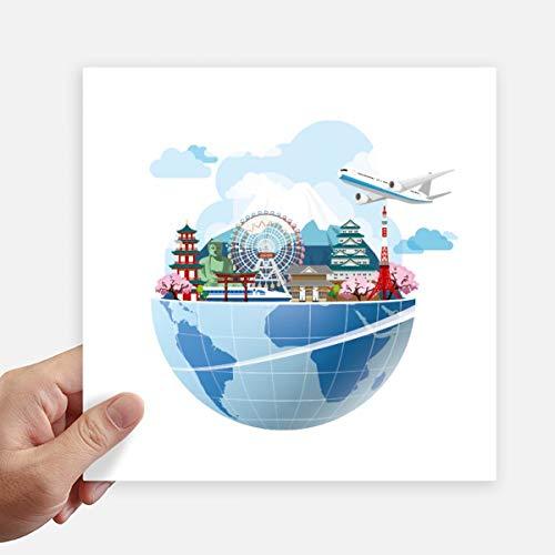 DIYthinker reizen reis Japan Fuji Sakura vliegtuig Square Stickers 20 Cm muur koffer Laptop Motobike Decal 4 Stks