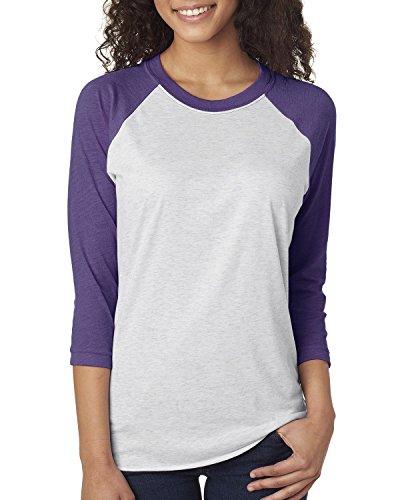 Next Level Unisex 3/4-Sleeve Raglan T-Shirt, Purple Rush/HTHR Wht, XX-Large