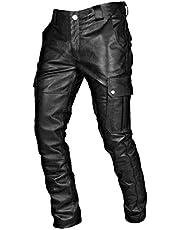 Heren Casual Broek Steampunk Gothic Vintage Cargo Broek Pu Fashion Basic Lederen Stretch Broek Streetwear Sweatpants Heren Broek S