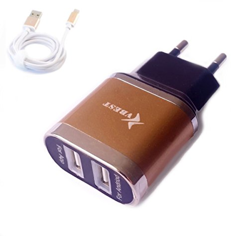 OLI 2 Port USB Adapter met kabel oplader voor Samsung Galaxy S5 S4 S3 S3mini S4mini S5mini A3 J1 bruin zwart VB