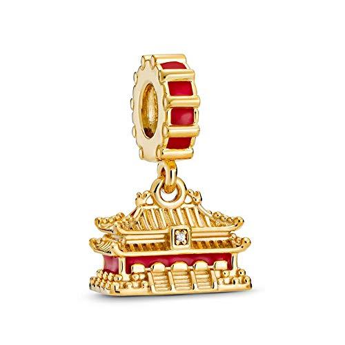 ZHANGCHEN 925 Sterling Silver Bead Shine The Forbidden City Dangle Charm Fit Fashion Women Pan Bracelet Bangle Gift DIY Jewelry