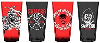 Sons of Anarchy Red Black Set of 4 Drinking Pint Glasses