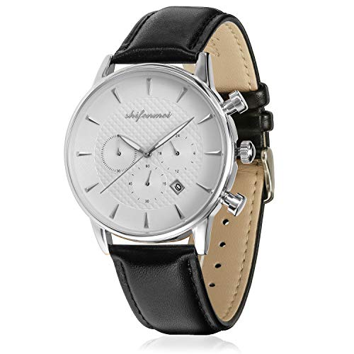 Shifenmei Herren Damen Chronograph Quarz Uhr mit Leder Edelstahl Armband Unisex Erwachsene Armbanduhr Analog Quarzwerk Kalender S1082
