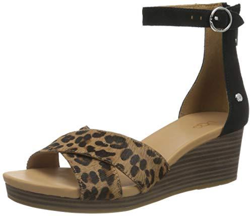 UGG Women's Eugenia Leopard Wedge Sandal, Black/TAN, 7.5