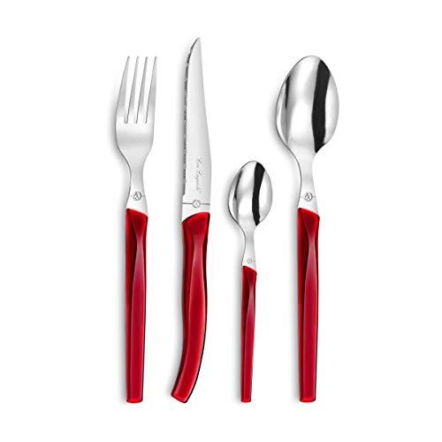 Lou Laguiole 3722RDZW00C40 Rising Sun - Servizio di posate per 6 persone, 24 pezzi, colore: Rosso