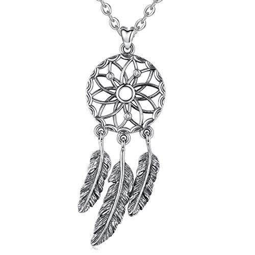 Eudora Halsketten Boho Mit Traumfänger-Anhänger aus 925 Sterlingsilber mit Feder, Vintage Kette Glücksbringer für Mädchen Damen Hübsches Geschenk Damenschmuck, 45,7 cm