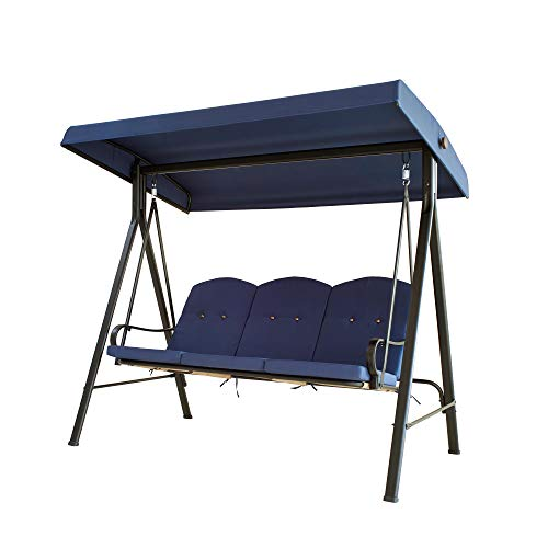 LOKATSE HOME 3-Seats Patio Swing with Adjustable Canopy Weather Resistant Steel Frame Outdoor Porch Converting Deck Furniture, Blue