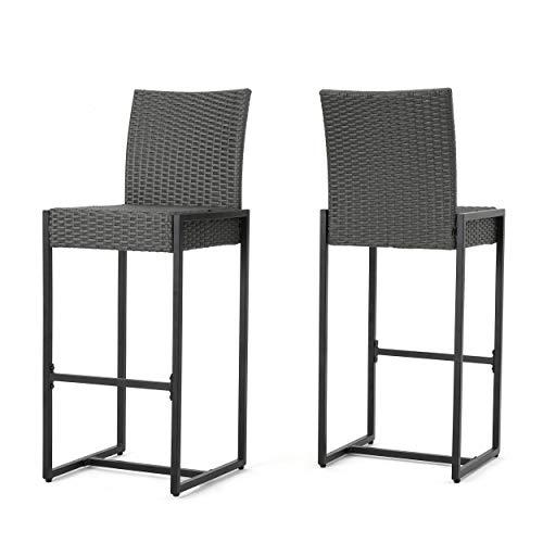 Christopher Knight Home Conrad Outdoor Wicker Barstools, 2-Pcs Set, Grey