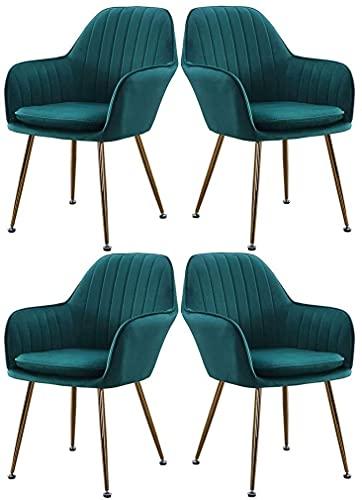 JFIA65A Moderno juego de 4 sillas de comedor tapizadas de cocina, sillones de salón con patas de metal, asiento de terciopelo y respaldo sillas (color verde, tamaño: patas de titanio)
