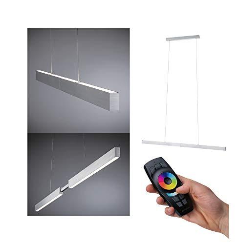 Paulmann Aptare 79815 LED Pendelleuchte eckig incl 1x18 Watt dimmbar Deckenlampe Alu gebürstet Hängelampe Metall Pendellampe 2700 K, 18 W