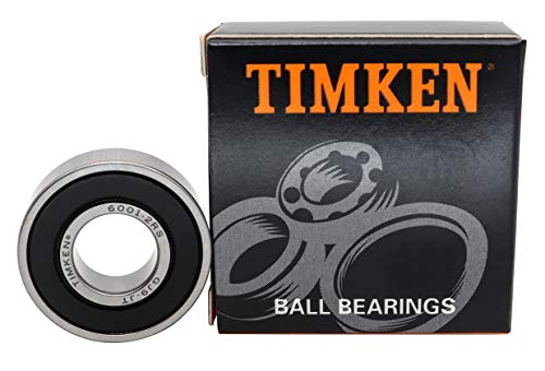 TIMKEN 6001-2RS 4 Pcs Double Rubber Seal Bearings 12x28x8mm, Pre-Lubricated and Stable Performance and Cost Effective, Deep Groove Ball Bearings.