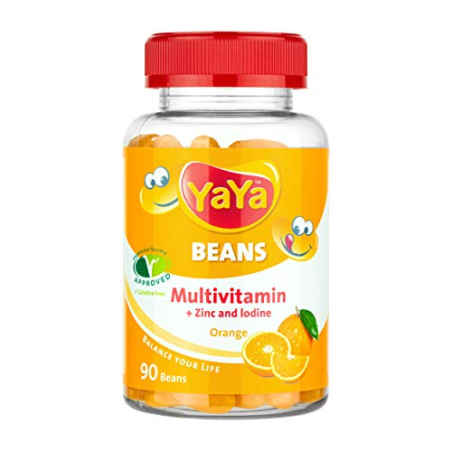 YaYa BEANS MULTIVITAMIN Orange + ZINC and Iodine Gelatine Free Vegetarian Society Approved, Awesome Power Packs for Children and Adults