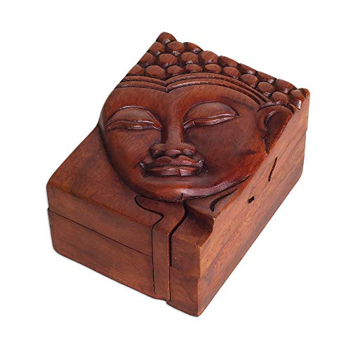 NOVICA Buddha Wood Decorative Box, Brown, Glory of Buddha'