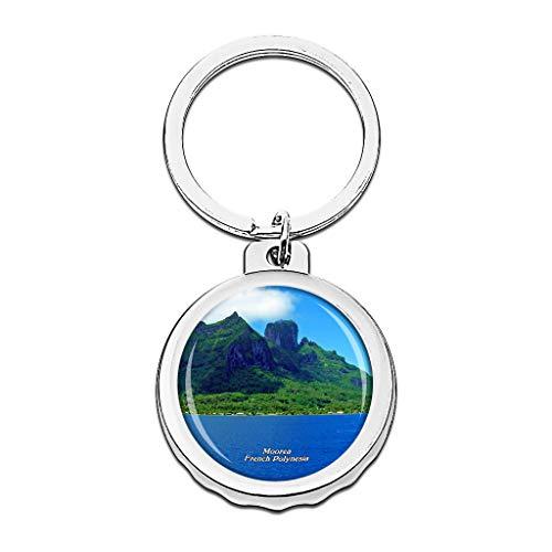 Hqiyaols Keychain Opunohu Bay Moorea Polinesia Francesa Gorra Abrebotellas Llavero Creativo Cristal Acero Inoxidable Llaveros Viajes Recuerdo