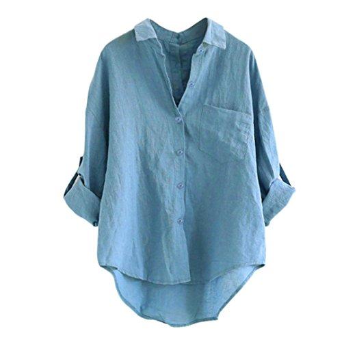 MRULIC Damen Langarm Shirt Beiläufige Lose Baumwolle Frühling Herbst Tops Solide Elegante T-Shirt (X-Blau,EU-38/CN-M)
