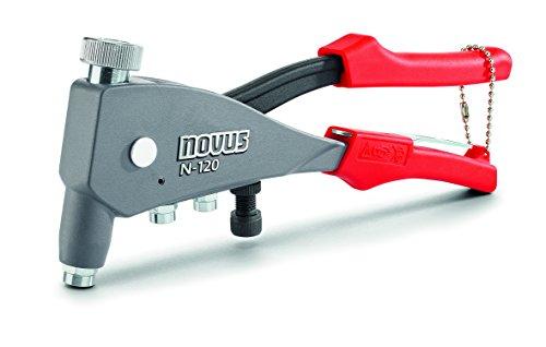 Novus Blindnietmutterzange N-120 Universal, 1-Hand-Bedienung, Nietmutternzange aus Aluminium, integrierte Mundstücke mit Gewindedorn
