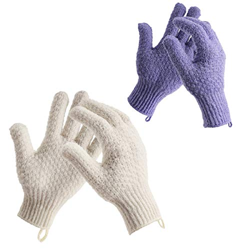 Vebiys Bath Exfoliating Gloves For Shower - 4 Pcs Large Exfoliating Scrubber Mitt - Bath Gloves For Shower, Spa, Body Massage And Body Scrubs, Remove Dead Skin, Gloves With Hooks(Purple and Yellow)