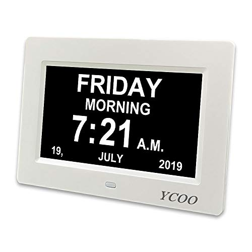 YCOO [2019 Newest] Digital Calendar Day Clock with 7 inch Display Digital,12 alarms Clocks for people living with Dementia, Memory Loss Alzheimer,Digital Photo Frame(7' White)