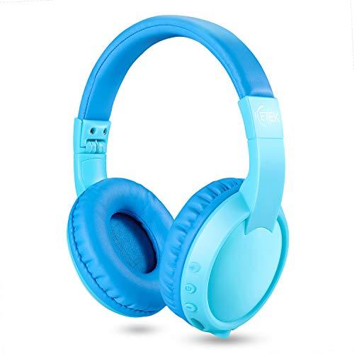 ICETEK Kinder Kopfhörer Bluetooth ab 3 Jahre Kabellos Lautstärkebegrenzung 85 dB Eingebautes Mikrofon-mit oder auch ohne Kabel (Blau mit Sticker)