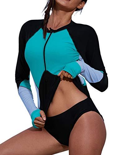 Zereesa Damen Badeanzug Sportlich Surfen Schwimmanzug Tankini Swimsuit Figurformend Schwimmanzug Neoprenanzug Damen Langarm Rashguard Wassersport Surfing Badeanzüge Reißverschluss Vorne S-XXL