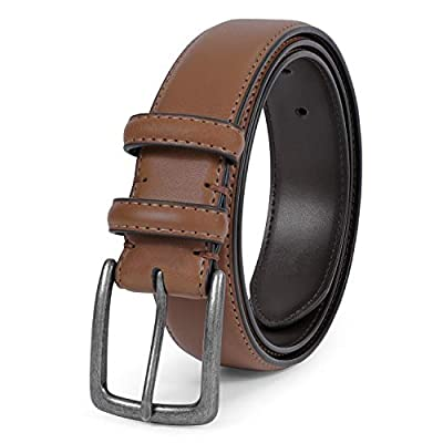 Men Genuine Leather Belt Classic Designs Cowhide Leather Belt for Business and Casual(Brown,Suit for waist size 28-31 inch)