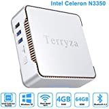 Terryza Mini PC Intel Celeron N3350 (up to 2.4GHz) Mini Computer with Window 10 Pro 64bit 4GB DDR3+64GB eMMC,Dual Band Wi-Fi 2.4G/5G,HDMI/VGA Port Three Display, Gigabit Ethernet, 4K HD,BT 4.2
