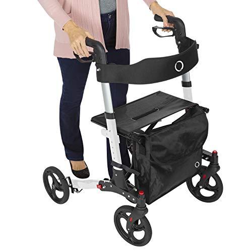 Vive Mobility Rollator Walker - Folding 4 Wheel Medical Rolling Walker...