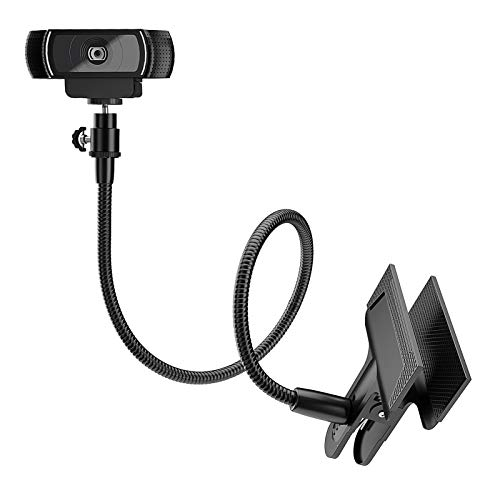 Amada Webcam Stand with Adjustable Flexible Gooseneck Arm, Sturdy Table Clip,360 Degree Rotation for Logitech C925e, C922x, C930e,C922,C930,C920,C615,Brio, 13.5 inch