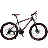 QCLU 26 Inch Adult Mountain Double Disc Brake, Adult MTB, Bicycle with Adjustable Seat, High- Carbon Steel Mountain Trail (Color : Red)