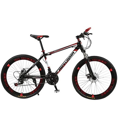 QCLU 26 Pulgadas de montaña Adultos Doble Freno de Disco, Adulto BTT, Bicicletas con Asiento Ajustable, Acero Rastro de montaña de Alto Carbono (Color : Red)