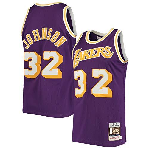 DAEYU producto popular Camiseta de baloncesto Jersey magia Johnson Sports Los Hombres Ángeles Púrpura - Lakers #32 Hardwood Classics Jersey Icono Edition-M