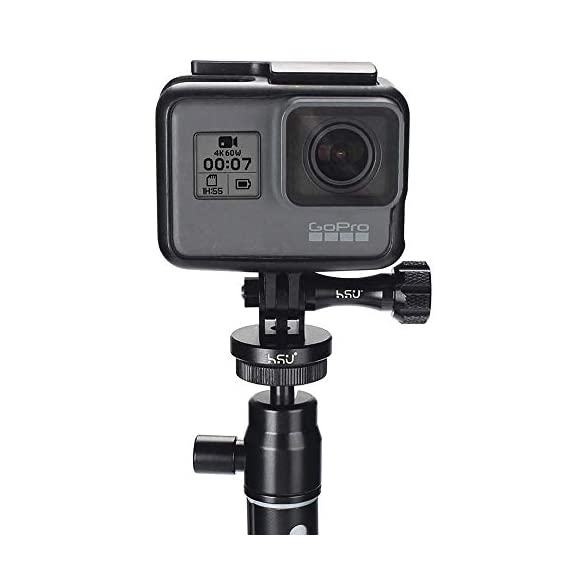 Aluminum Alloy Metal GoPro Tripod/Monopod Mount with Aluminum Thumbscrew for GoPro Session, Hero 9, 8, 7, 6, 5, 4, 3+, 3… 3 The tripod mount adapter and thumbscrew are made of high quality aluminum alloy, rustproof, rugged and durable. Great for replacing broken or lost plastic thumbscrews Applicable models: GoPro Session, Hero 9, 8, 7, 6, 5, 4, 3+, 3, 2, 1 HD, GoPro hero 2018,JOBY Gorilla Pod,GoPro Hero 7 Silver etc Built in thread end: A 1/4-20 screw hole is attached to the bottom, it is convenient to connect with a self-shooting stick or a tripod
