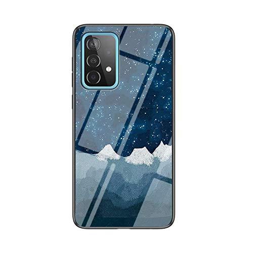 LORMI Coque pour Samsung Galaxy A32 4G, Conception de Ciel étoilé nébuleuse Lumineuse Mince Antichoc antidérapant Pare-Chocs en Verre trempé Coque pour téléphone Portable 5G & Tissu D'ÉCHECS Star LUO