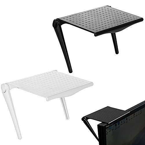 Rayong 2 estantes superiores para pantalla de TV, estantes superiores ajustables y plegables para mando a distancia de caja de cables, para uso en interiores y en el hogar