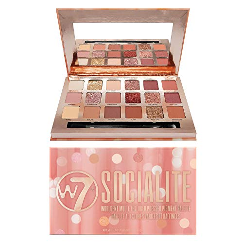 W7 | Socialite Pressed Pigment Palette Makeup | Tones: Cream Matte, Shimmer, Glitter & Chromes | Colors: Natural Nudes, Soft Pinks, Plums & Copper | Cruelty Free, Vegan Makeup For Women