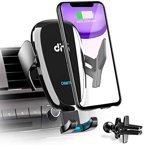 DIMITION Handyhaltung Auto mit Laderfunktion, Induktion Qi 10w Wireless Charger Auto Handyhalter Upgrade Kit Auto Ladegerät mit 2 Lüftungsclips Fast Charging für iPhone 11/11 Pro Max/SE/Samsung S10