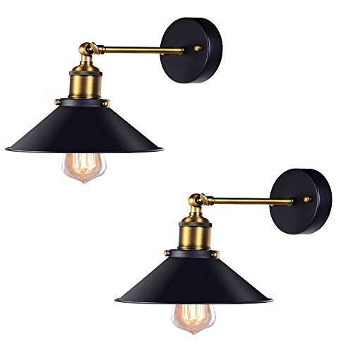 JWC 2 PCS Industrial Vintage Wall Lamp, Simplicity Finish Arm Swing Walls Lights, Wall Sconces Hardwire Light, Vintage Style, for Home Kitchen Cafe