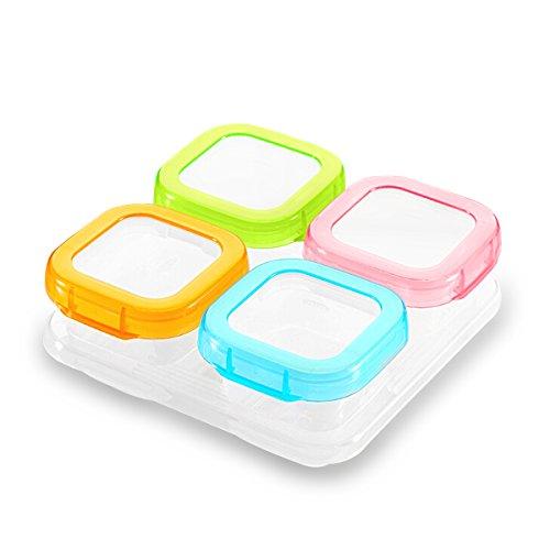 SONARIN Contenedor de almacenamiento de alimentos para bebé sin BPA, contenedor de almacenamiento de suplemento de alimentos para bebés, refrigerar y microondas,100% a prueba de fugas(4 x 120 m)