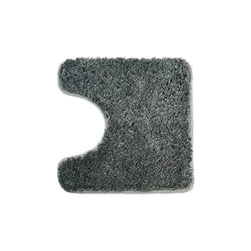 WohnDirect Badematten zum Set kombinierbar • Badvorleger 45x45 cm • Badteppich rutschfest & waschbar • Grau • MIT WC Ausschnitt