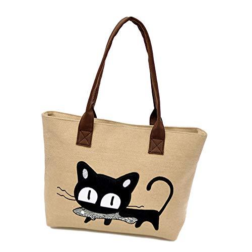 MINGZE Bolso, Nuevo Moda Mujer Bolsa de hombro Lindo bolso de gato Bolsa de lona Oficina Bolsa del almuerzo (Caqui)