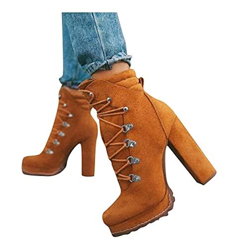 FACAIAFALO Botas De TacóN Alto Grueso Para Mujer Plataforma Con Cordones Botines De Doble Hebilla Para OtoñO E Invierno Botas De Tobillo Con Cordones Punta Puntiaguda Zapatos De Tacones Altos