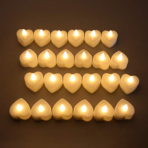KASILU Free Combination 24Pcs Heart Shape LED Tea Lights Candles Mini Flameless Electronic Tealight Battery Operated Warm White Lighting Wedding Decor Romantic (Color : 24pcs)